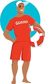Young man in a red lifeguard swimsuit holding a ring buoy, EPS 8 vector illustration