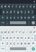 Light and dark alphabet buttons. Smartphone keyboard, mobile phone keypad vector mockup for mobile device illustration