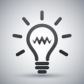 Light bulb icon, vector on a gray background with shadow