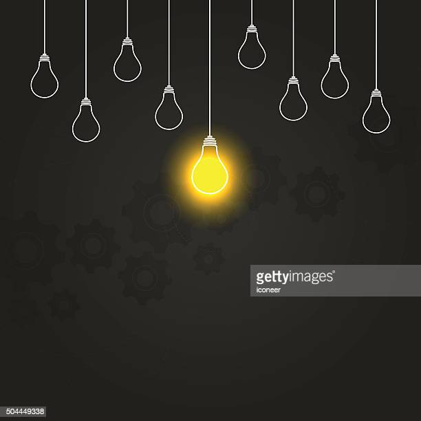 Light bulbs hanging down illustration on gears dark background