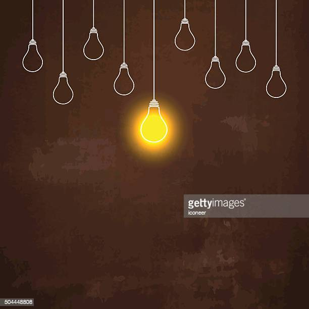 Light bulbs hanging down illustration on rusty metal background