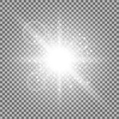 Light circle with stardust, glowing light with sparks on transparent background, light effect,white color