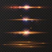 Vector illustration of sunshine, light effect on a transparent background. Design element.