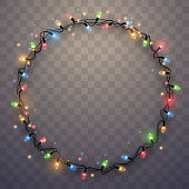 Light garland ring in vector