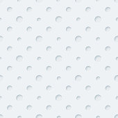 Light gray perforated polka dots paper with cut out effect. Abstract 3d seamless background. Vector EPS10.
