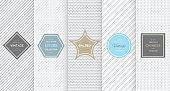 Light grey seamless pattern background. Vector illustration for elegant design. Abstract geometric frame. Stylish decorative label set. Fashion universal background.
