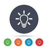 Light lamp sign icon. Idea symbol. Light is on. Round colourful buttons with flat icons. Vector