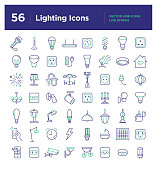 Collection of 56 unique vector pixel-perfect icons that reflects lighting in various spheres of life. The set includes home or office interior icons: light bulbs, LED lights, smart lighting, pendants,