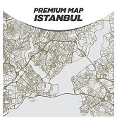Light Neutral Beige and Brown Map of Istanbul Turkey