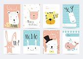 Light pink blue collection for banners, Flyers, Placards with rabbit tiger bear and whale