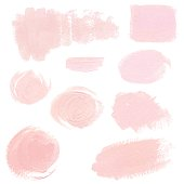 Set of light pink pastel acrylic brush strokes, delicate vector textures for business identity, decoration, wedding invitation