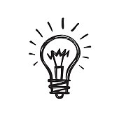 Lightbulb - creative sketch draw vector illustration. Electric lamp sign.