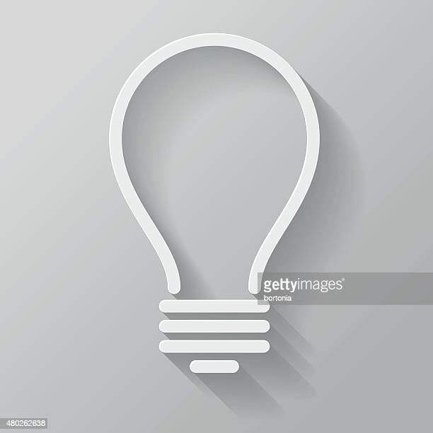 Lightbulb Paper Thin Line Interface Icon With Long Shadow