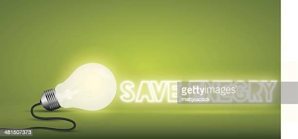Bombilla palabra ahorrar energía