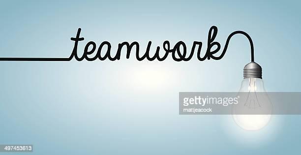 Lightbulb word teamwork
