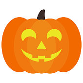 Lighted Halloween Jack O' Lantern pumpkin with happy face isolated on white background