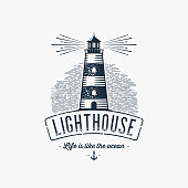 Lighthouse Design Element in Vintage Style for Emblem or Badge Retro vector illustration. Vector illustration.