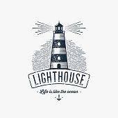 Lighthouse Design Element in Vintage Style for Emblem or Badge Retro vector illustration. Vector illustration.