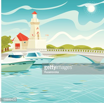Lighthouse in Port Credit : Vector Art