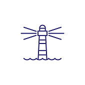 Lighthouse line icon. Tower, beacon light, sea. Navigation concept. Can be used for topics like direction, location, sailing