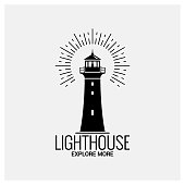 lighthouse navigation logo on white background 8 eps