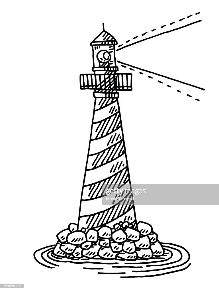 lighthouse symbol sea drawing vector art getty images