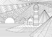 Coloring Page. Coloring Book for adults. Colouring pictures of light house among mountains,sunburst ocean and seawave. Antistress freehand sketch drawing with doodle elements.