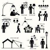 A set of human pictogram using different type of home lighting. They are man using designer light, picture light, portable light, chandelier, vanity light, wall light, pendant light, work lamp, outdoo