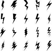 Lightning bolt icons, black thunder lightings on white background. Vector illustration