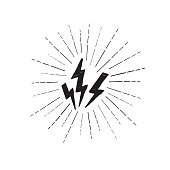 Lightning bolt set. Grunge strike icon. Power sign. Thunderbolt with ray beams