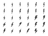 Lightning Vector Gluph Icons Set. Expand to any Size - Easy Change Colour.