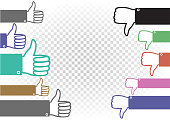 like and dislike battle illustration. Followers and haters war. Hand palm with raised upward and down thumb finger on white transparent background. Good well and bad evaluation of the concept or idea