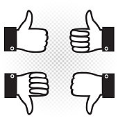 Like and dislike symbol icon set. Black hand palm with raised upward and down thumb finger on white transparent background. Good well and bad sign collection