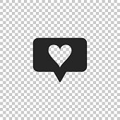 Like and heart icon isolated on transparent background. Counter Notification Icon. Follower Insta. Flat design. Vector Illustration