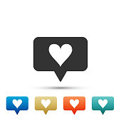 Like and heart icon isolated on white background. Counter Notification Icon. Follower Insta. Set elements in colored icons. Flat design. Vector Illustration