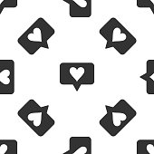 Like and heart icon seamless pattern on white background. Counter Notification Icon. Follower Insta. Flat design. Vector Illustration