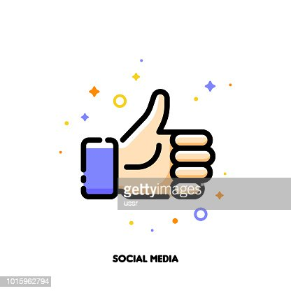 A like button for social networking services, internet forums, news websites and blogs. Icon with thumbs up. Flat filled outline style. Pixel perfect 64x64. Editable stroke : stock vector