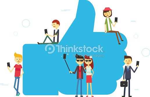 Like concept illustration of young people using mobile tablet and smartphone