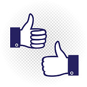 Like symbol set. Blue hand palm with raised upward finger on white transparent background. Good well sign collection