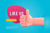 Like us concept. Hand thumbs up. Cartoon vector illustration