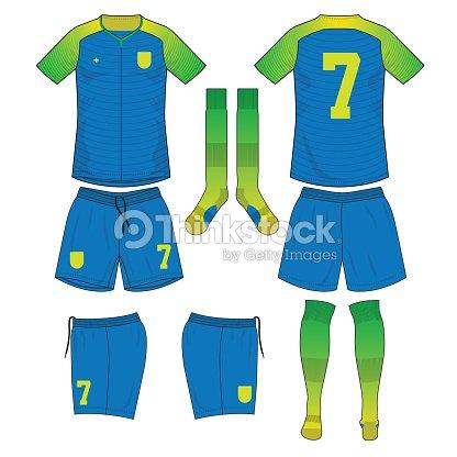 e3ac41c70 verde lima y azul amarillo camiseta de fútbol con el calcetín y corta  simulado por