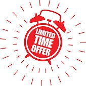 Limited time offer sticker with alarm clock