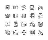 Simple Set of Accounting Related Vector Line Icons. Contains such Icons as Finance Report, Portfolio, Calculation and more. Editable Stroke. 48x48 Pixel Perfect.