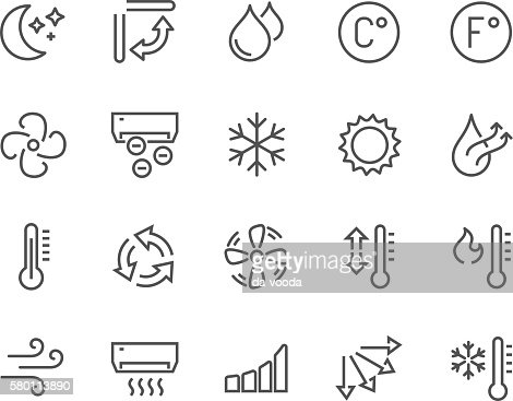 Line Air Conditioning Icons : Arte vectorial