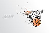 The particles, geometric art, line and dot of basketball shooting.