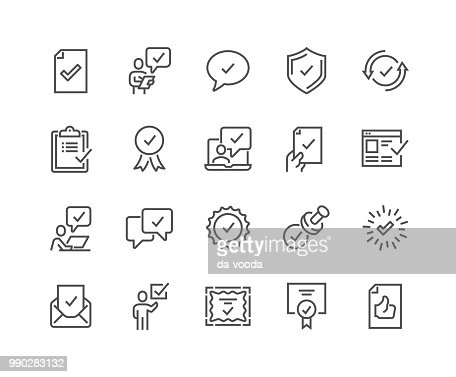 Line Approve Icons : stock vector