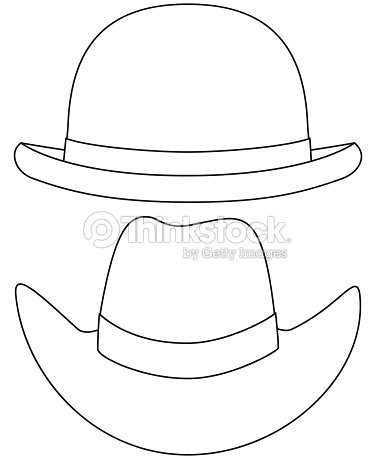 Conjunto De Sombrero Blanco Y Negro Del Arte De Línea Arte vectorial ... e8e7b57f224