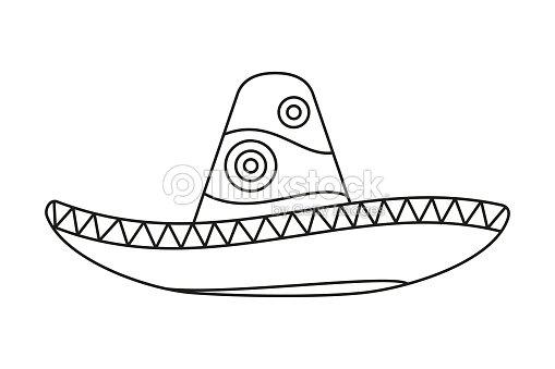 Sombrero Mexicano De Línea Arte Blanco Y Negro Arte vectorial ... eb17567538f