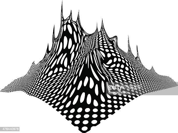 Line art, halftone pattern, mountain range.