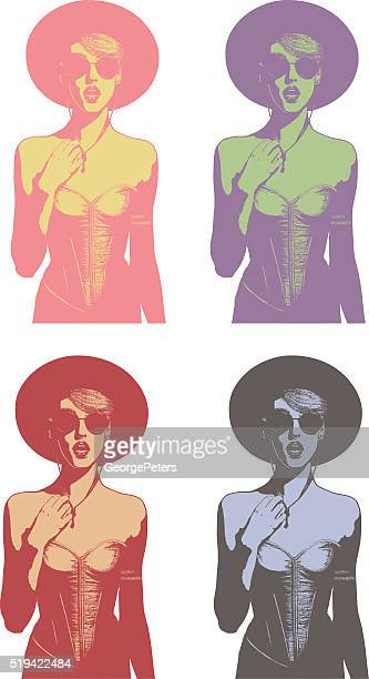 Line art illustrations of a fashionable woman speaking